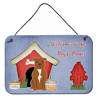 Dog House Collection Staffordshire Bull Terrier Brown Wall or Door Hanging Print
