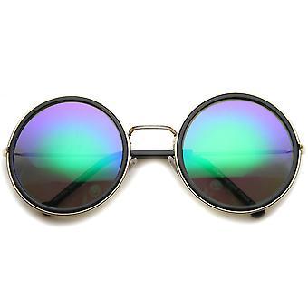 Naisten metalli pyöreä aurinkolasit UV400 suojattu peilattu linssi