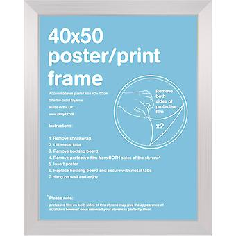 40x50cm Flat Silver Satin Mini Frame