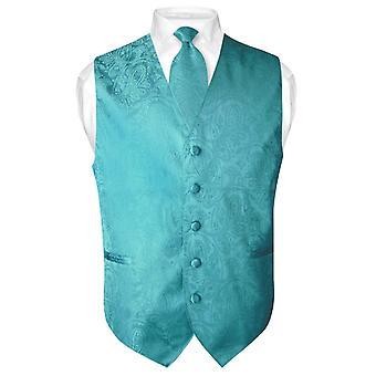 男士佩斯利设计连衣裙背心和颈部颈部领带套装