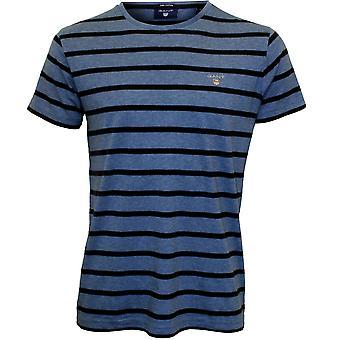 Gant Breton Stripe Crew-Neck T-Shirt, Blue/navy