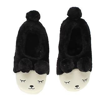 अजवाणी महिला शीतकालीन फर लाइन पोम पोम नवीनता भालू पशु चेहरा चप्पल घर जूते