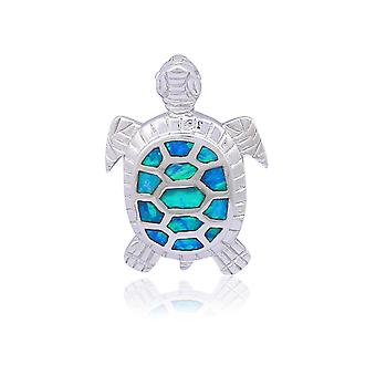 Silver And Opal Female Turtle pendant 6790