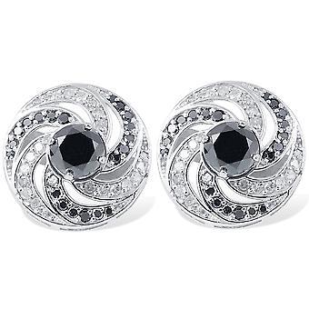 Naisten's 3/4ct Musta & Valkoinen Diamond Studs & Korvakoru Takit 14K Valkoinen Kulta
