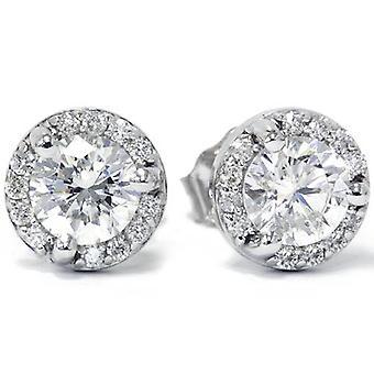 7 / 8ct проложить Halo Мартини алмазов шпильки 14K Белое золото