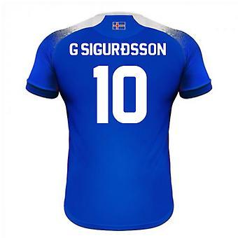 2018-2019 Islanti koti Errea jalkapallopaita (G Sigurdsson 10)