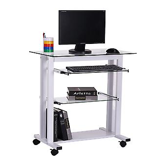 Homcom Computer Laptop Desk Glass Writing Table Stand w/ Wheels (White)