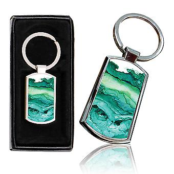 i-Tronixs - Premium Marble Design Chrome Metal Keyring with Free Gift Box (1-Pack) - 0016