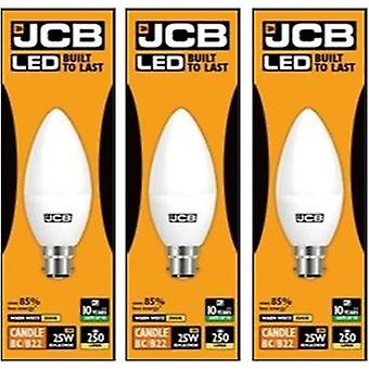 3 X JCB 3w = 25w LED Opal Candles - 3000k - Warm White (3w = 25w, Bayonet Cap (BC))[Energy Class A+]