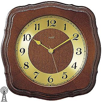 rustic modern wall clock painted housing solid wood Walnut colours mineral glass