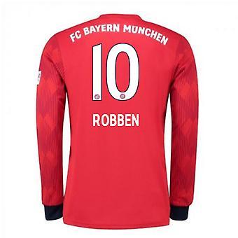 2018-2019 Bayern Munich Adidas Home Long Sleeve Shirt (Robben 10)
