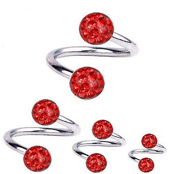 Spiral Twist Piercing Titanium 1,6 mm, Multi Crystal Ball röd | 8 - 12 mm