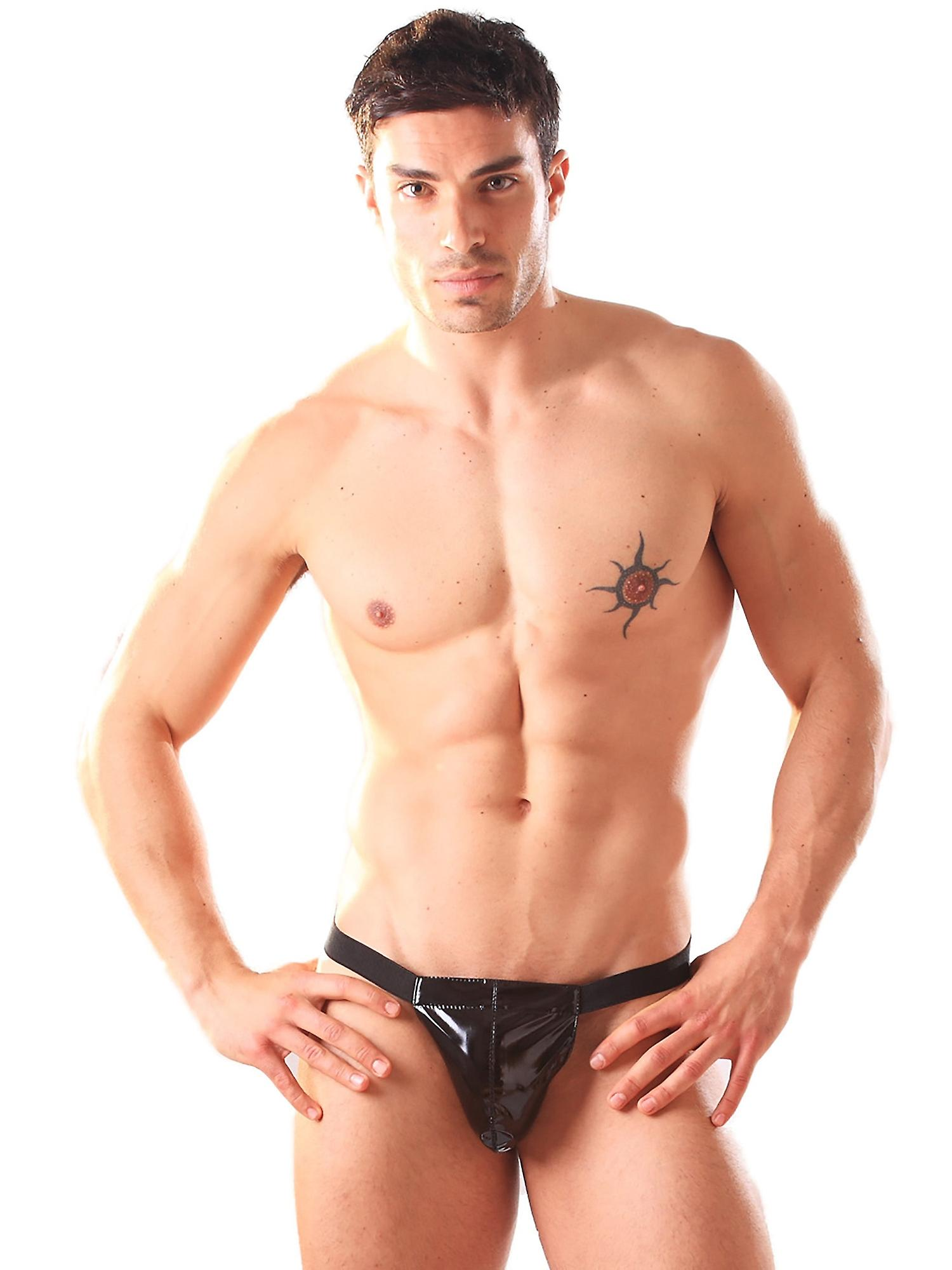 Honour Men's Thong in PVC Sexy G String Bedroom Wear Elasticated Waistband