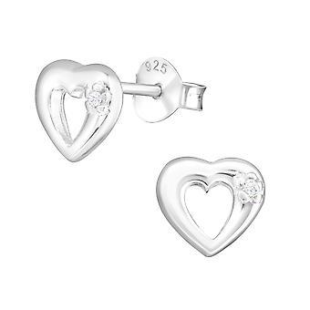 sydän - 925 sterlinghopea kuutio zirkonia korva nastat - W3171x