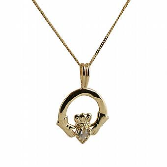 9ct Gold 20x15mm cubic zirconia set Claddagh Pendant with a curb Chain 20 inches