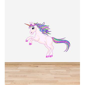 Full farge Rainbow Unicorn Wall klistremerke