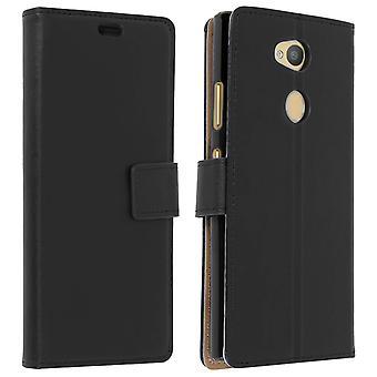 Slim saken, flip bokomslag, stå lommebok tilfelle for Sony Xperia L2 - svart