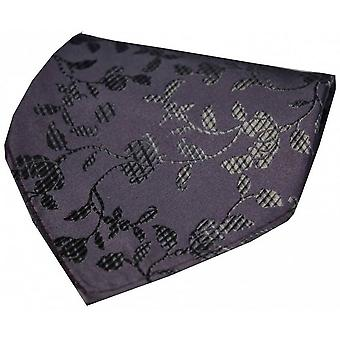 David Van Hagen Flower Chain Silk Handkerchief - Grey/Black