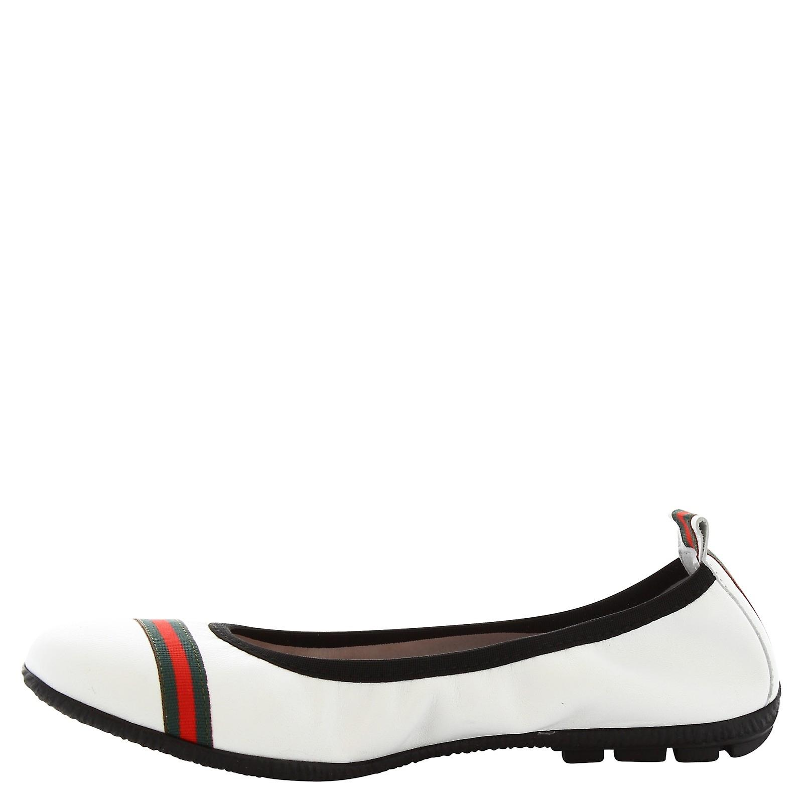 Leonardo Shoes Woman's handmade ballerinas in white leather with red band