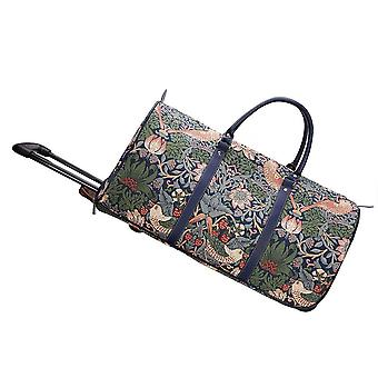 William morris - strawberry thief blue travel pull holdall by signare tapestry / pull-stbl