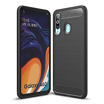 Samsung Galaxy A60 TPU Case Carbon Fiber Optik Brushed Schutz Hülle Schwarz