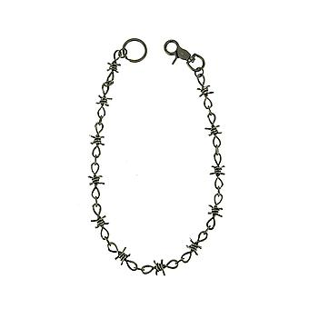 Aged Silver Finish Metal Barbed Wire Link Wallet Chain