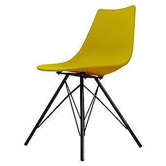 Fusion Living Iconic Senap Plastic daning Chair con gambe in metallo nero