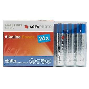 Ny AgfaPhoto alkalisk strøm AAA LR03 batterier 24 Pack blå