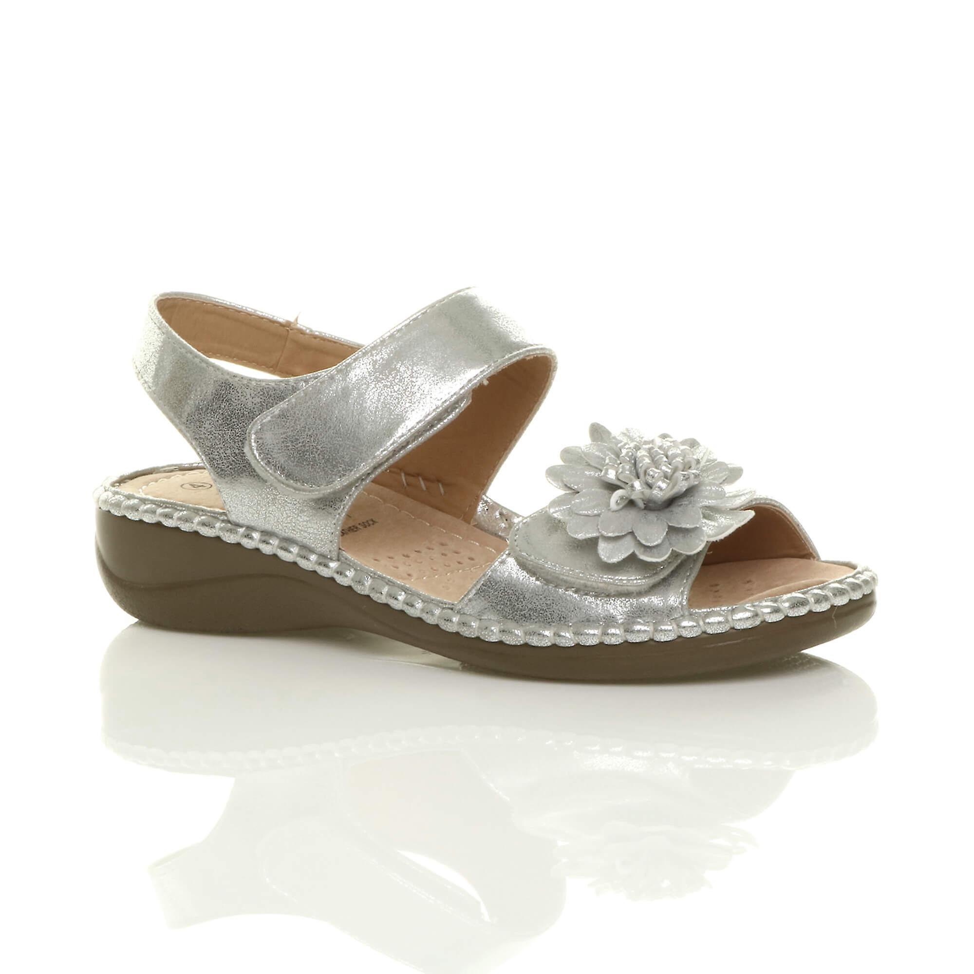 Ajvani womens low wedge heel hook & loop strap slingback flower comfort leather insole sandals shoes uiauo