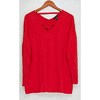 H by Halston Women's Sweater Crisscross V-Neck Long Sleeve Red A300977