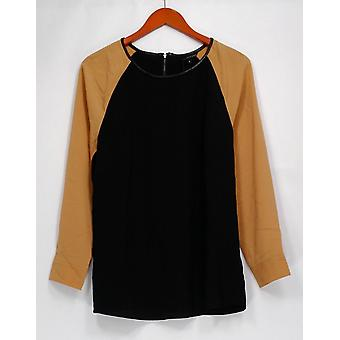 View by Walter Baker Top Color Block Long Sleeve Black A263081