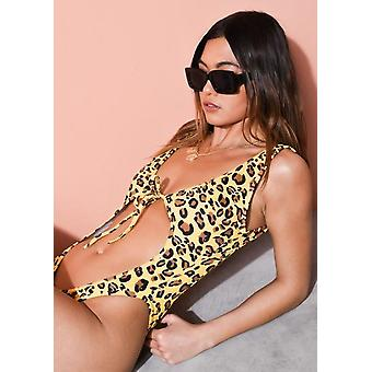 Leopard Print High Leg Cut Out Badeanzug gelb