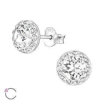 Runda crystal från Swarovski® - 925 Sterling Silver öra dubbar - W23933X