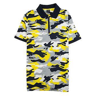 Paul e Shark Paul e camuflagem de tubarão manga curta zip camisa pólo amarelo camo