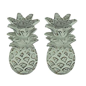 Weathered White Carved Wood Tropical Pineapple Decor Statues Set of 2