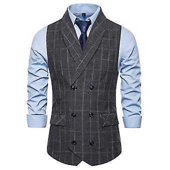 Allthemen Men's Plaid Double-Breasted Shawl Collar Business Casual Suit Vest