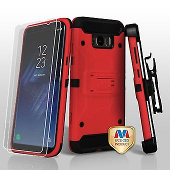 MYBAT Red/Black 3-in-1 Kinetic Hybrid CaseCombo w/ Holster (Twin Screen Protectors) pour Galaxy S8 Plus
