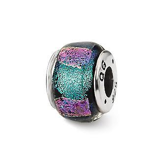925 Sterling Silver Reflektioner Blå Dichroic Glass Pärla Charm Hänge Halsband Smycken Gåvor för Kvinnor