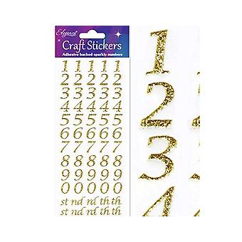 Gold Glitter Stylised Number & Symbol Stickers for Crafts