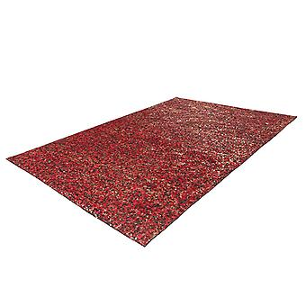 Cuir Rug Patchwork Box Stitched Silver Gloss Modern Red Gold