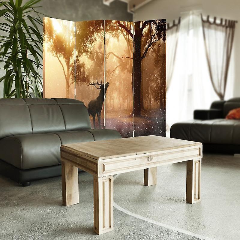 Diviseur de chambre, 4 panneaux, double-sided, toile, l'ornière de cerf