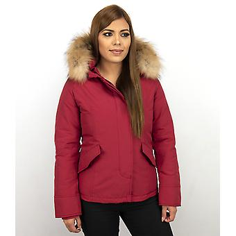 Short Winter coat - With Fur Collar - Red