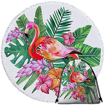 Colorful Tropical Flamingo Beach Towel