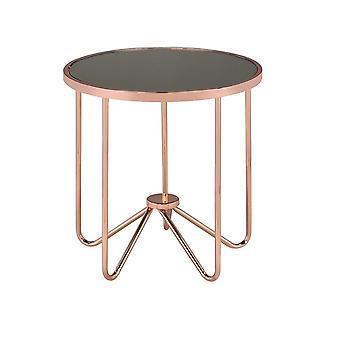 Mesa de cristal redondo con base de metal, oro rosa