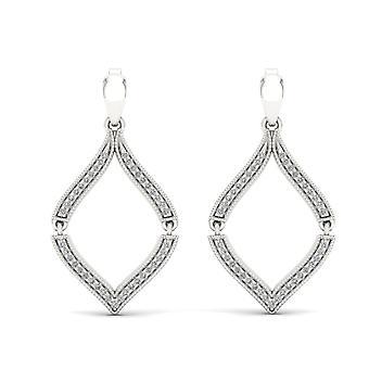 S925 argent sterling 0.20ct naturel rond coupe diamant boucles d'oreilles pendent salut