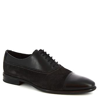 Leonardo Shoes Men's handmade oxford shoes in black calf suede leather