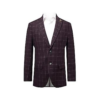 Dobell Mens Wine Tweed Kurtka RegularFit Okienko Sprawdź