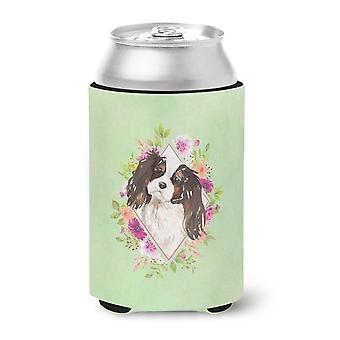 Tricolor Cavalier Spaniel Green Flowers Can or Bottle Hugger