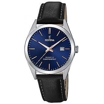 Uhr Festina F20446-B - CLASSIC Dateur Bo Tier Stahl Silber Leder Armband schwarz schwarz schwarz Zifferblatt Blau Männer