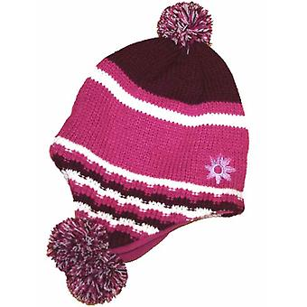 Kids Girls Knitted PERU Fleece Lined Pom Pom Winter Hat